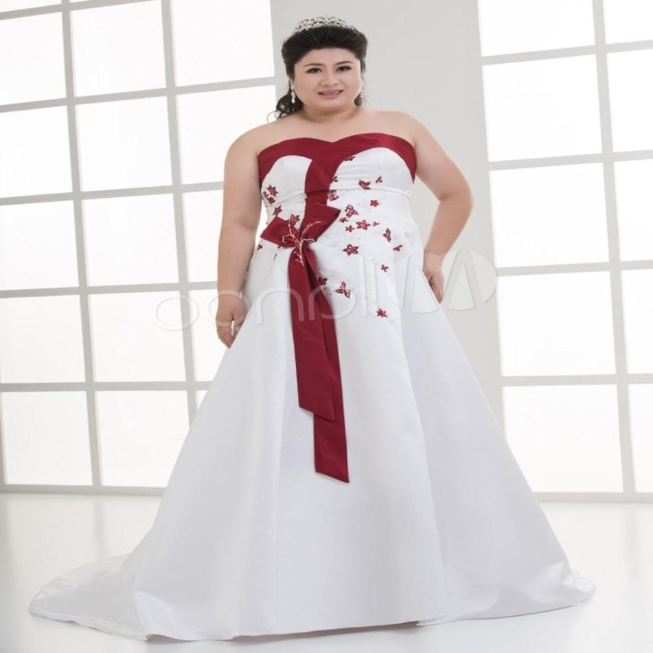 Red and white gothic wedding dress