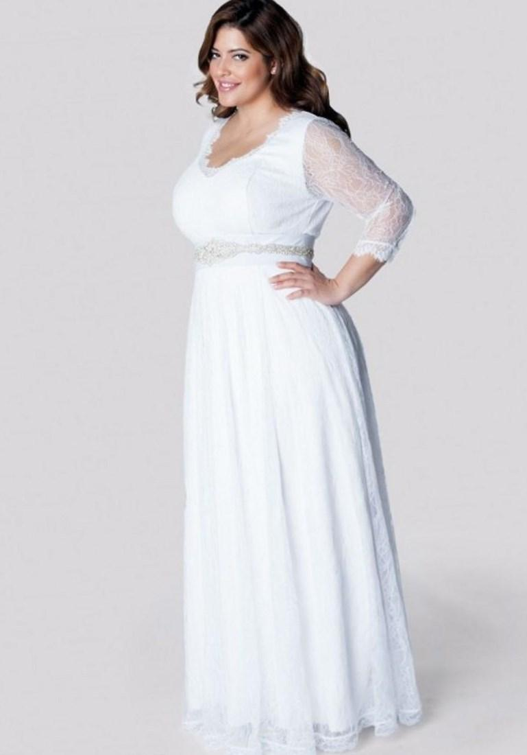 Plus size white long sleeve dress pluslook collection plus size long sleeve wedding gowns floor length white lace elegant bridal dresses simple white bride ombrellifo Gallery