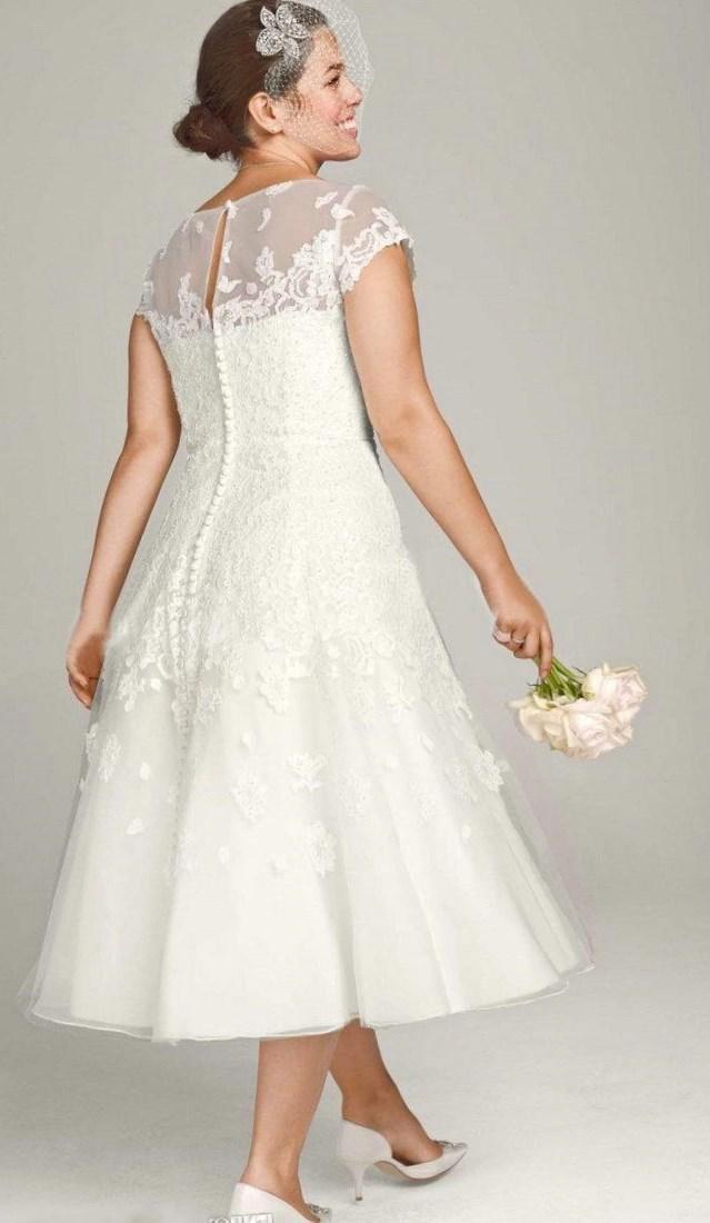 Tea Length Plus Size Bridal Dresses 56