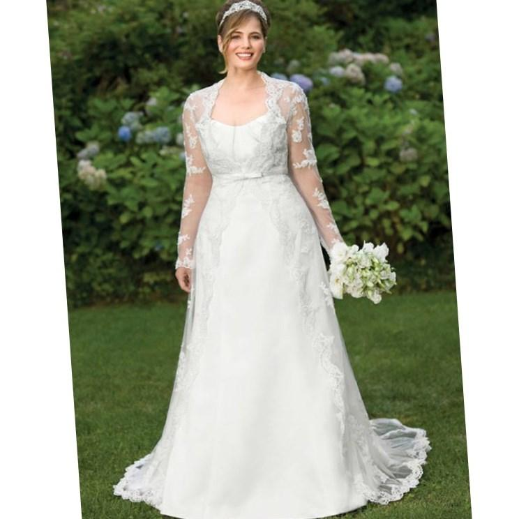 Plus size lace wedding dress with sleeves for Plus size mermaid wedding dresses with sleeves