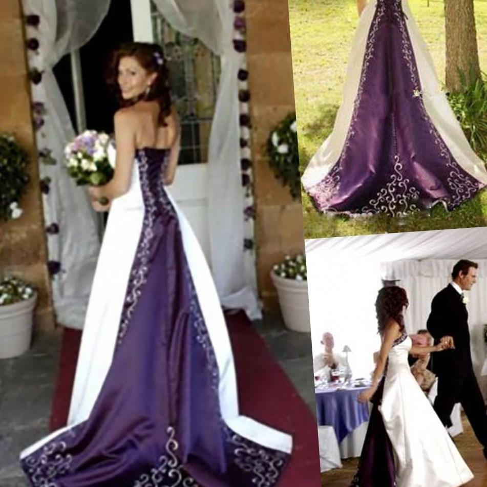 Black Bridal Wedding Gown Gothic Trumpet Gown Custom Red Taffeta Purple Lace Wedding Dress Plus Size