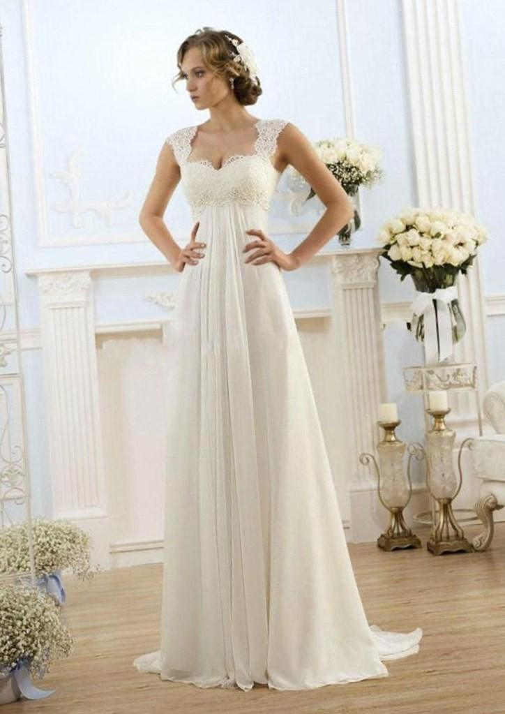 Empire Waist Chiffon Plus Size Wedding Dresses 120