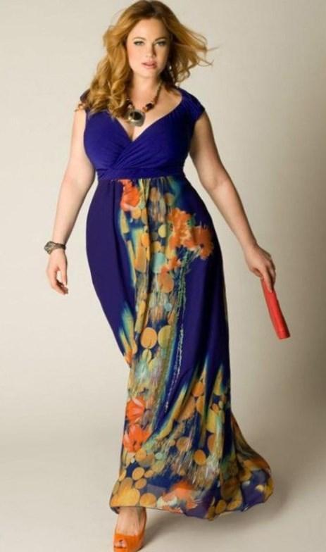 navy blue maxi dress plus size - pluslook.eu collection