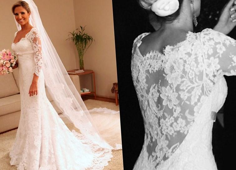 Elegant Plus size Lace Wedding Dresses Vintage Bridal Gowns with Sheer-Illusion Back 2018 A