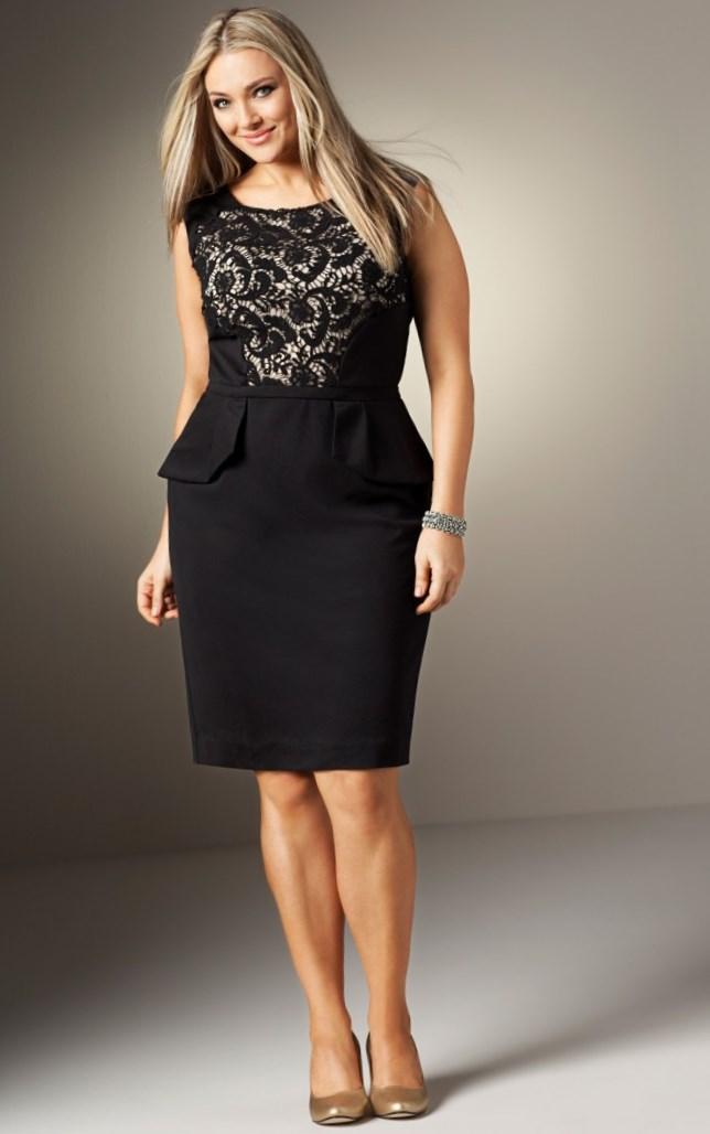 Black and white plus size peplum dress