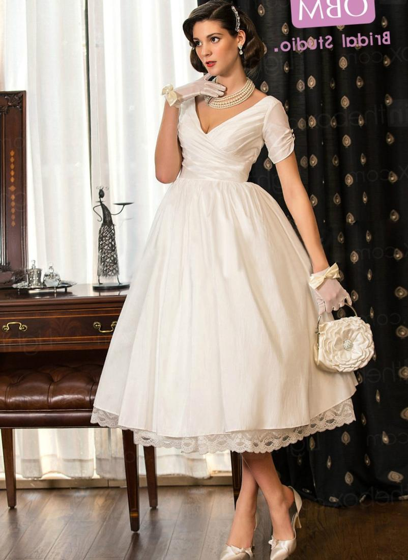 Cheap Tea Length Wedding Dresses with Sleeves | Dress images