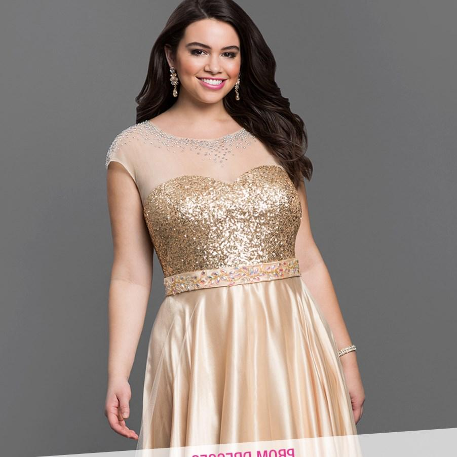 Slim fit plus size prom dress with gemstones 2017