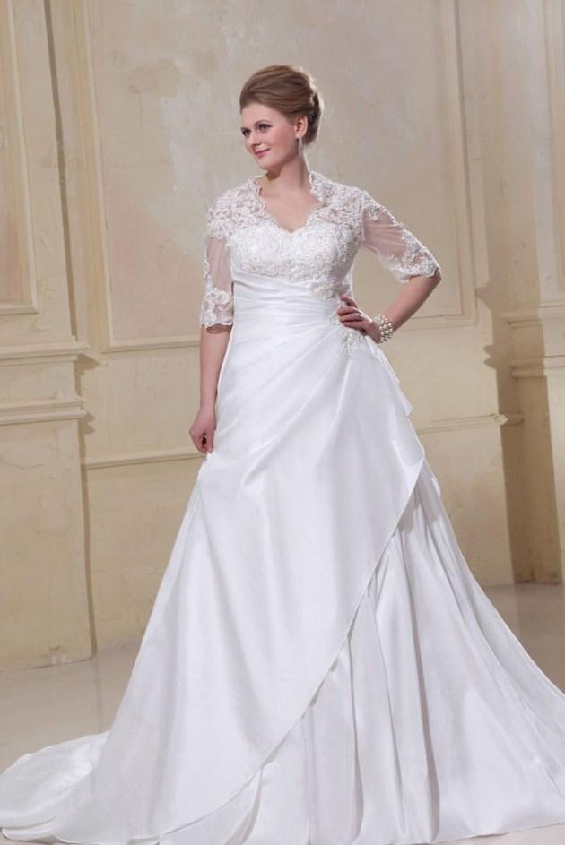 2017 Plus Size Wedding Dress Cheap Romantic Vintage Mermaid Style Vestido De Noiva Casamento With Long Sleeve Bridal Gown