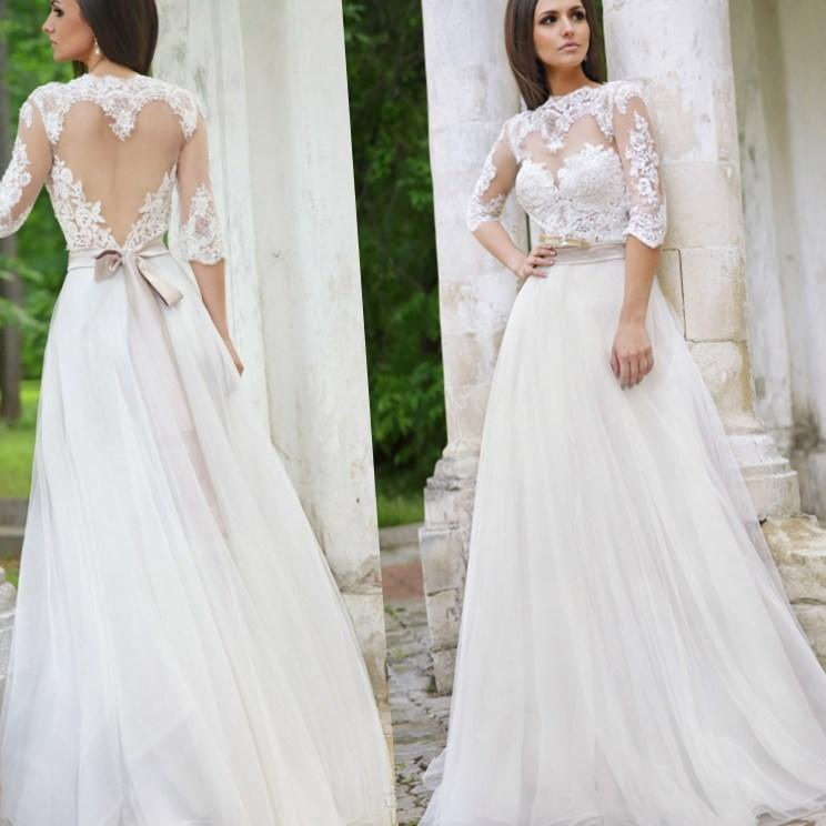 Elegant Lace Princess Sheer Top Long Sleeve Wedding Dress Plus Size Gowns With Bow Belt