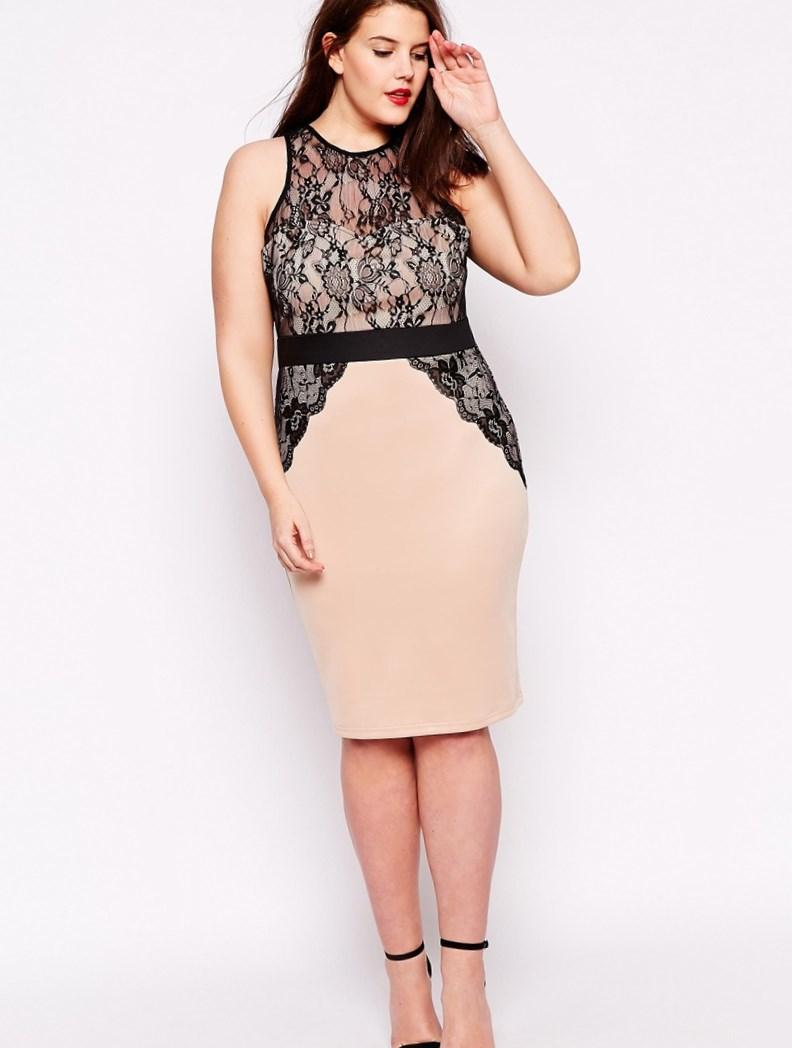 Image 4 of AX Paris Plus Size Bodycon Dress With Lace Overlay
