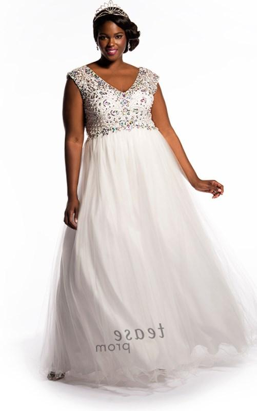 New Design Sweetheart Empire Line Long Chiffon Formal White Plus Size Women Prom Dress