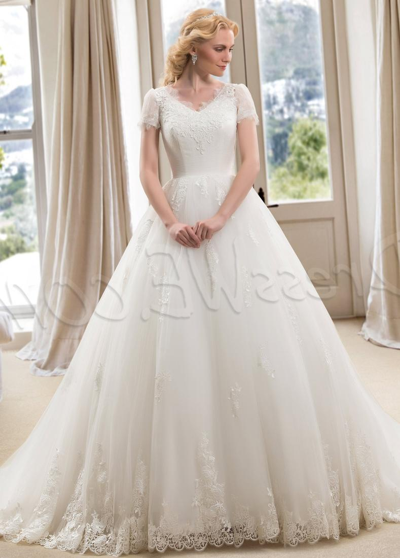 Keyhole Queen Anne Ball Gown Lace  Organza Chapel Train Plus Size Wedding Dress: Brides