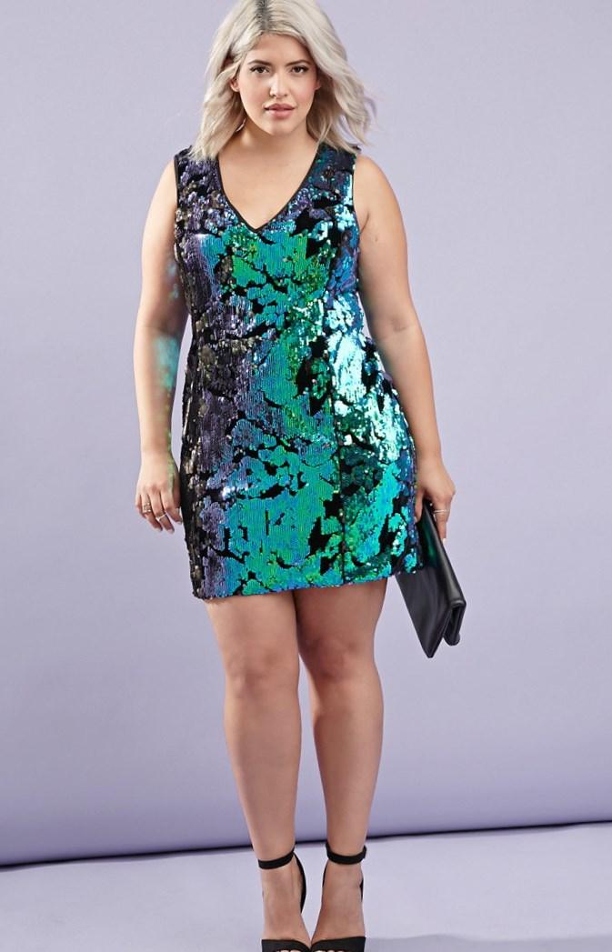 Green Plus Size Sequin Dress