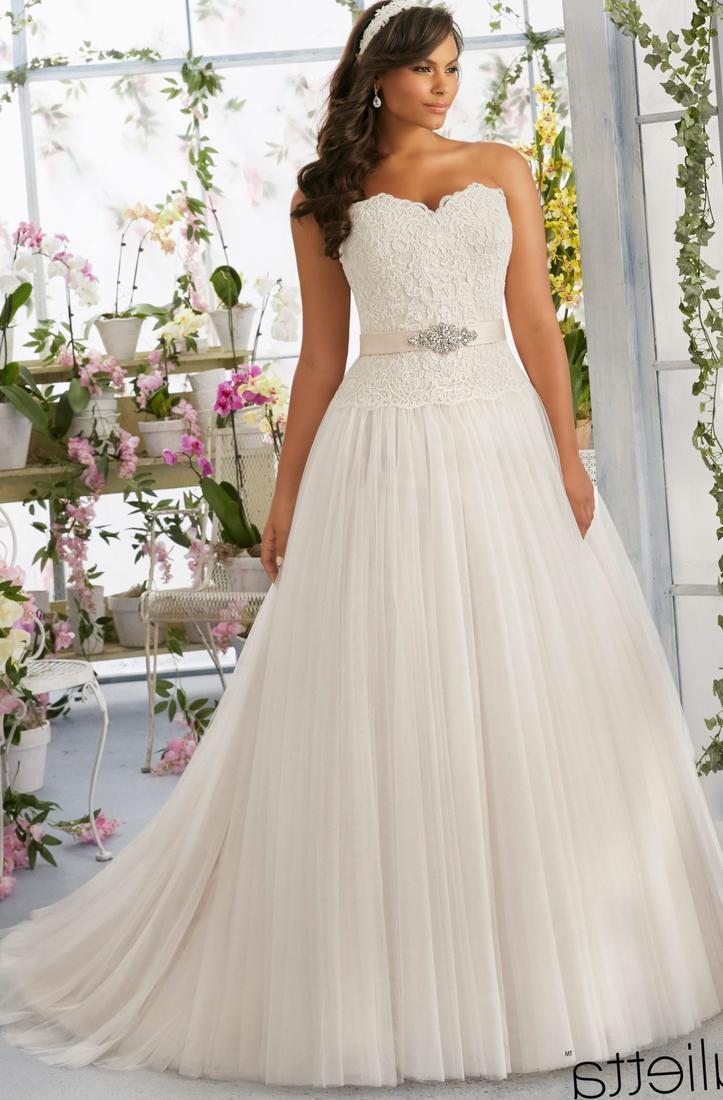 Plus Size Wedding Dress 3185 Majestic Embroidery With Crystal Beaded Waistline On Soft Net