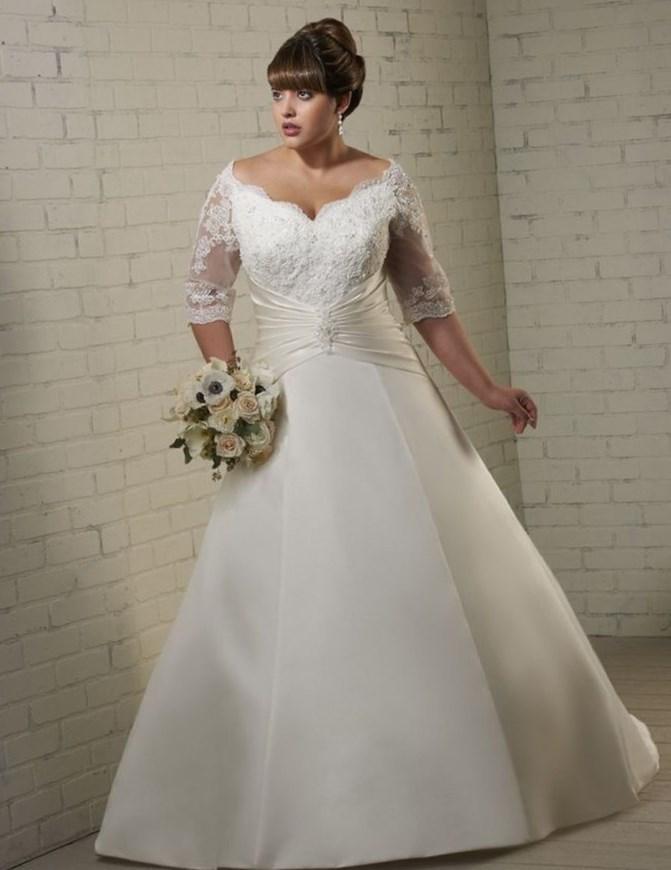 Plus size off white dress - PlusLook.eu Collection