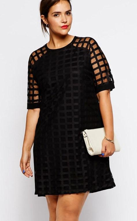 Black lace accent mini dress plus size