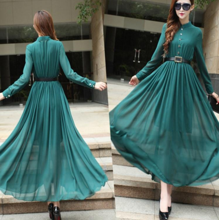 Freeshipping Sleeves V-neck Floor-length Brown Chiffon Dresses Evening Plus Size Maxi Size