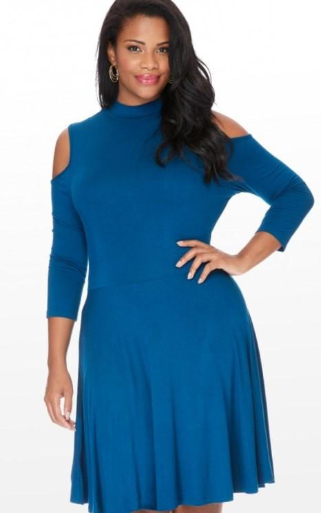 New Plus Size Bodycon Cold Shoulder Dress in Black available at http://www