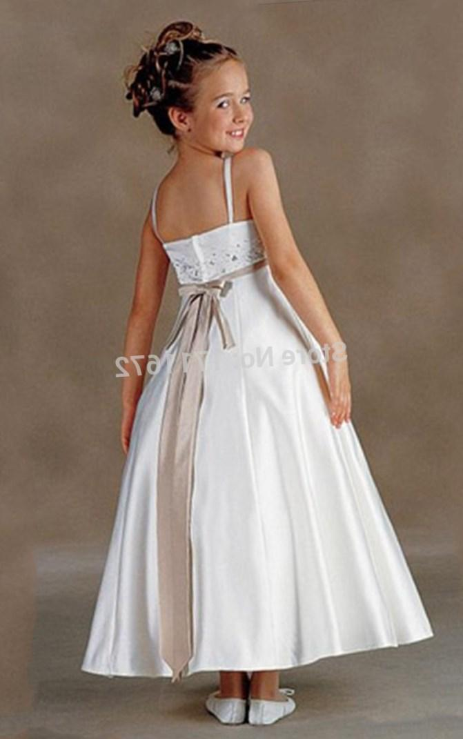 Hot Plus Size First Communion Dress Ankle Ivory Flower Girl Dresses for Weddings Kids Frock Designs