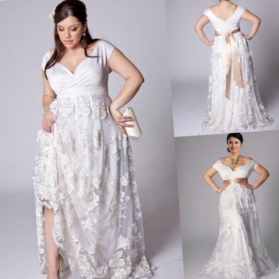 Plus size wedding dresses for the beach pluslook collection plus size 2017 maternity wedding dresses beach lace with crystal beaded belt short sheer sleeves wedding ombrellifo Choice Image