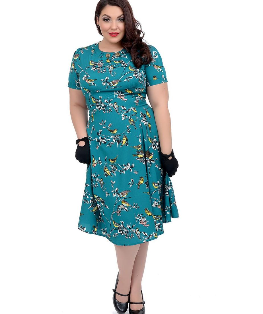 Plus Size Hell Bunny 1950s Style Teal Birdy Swing Dress | Unique Vintage