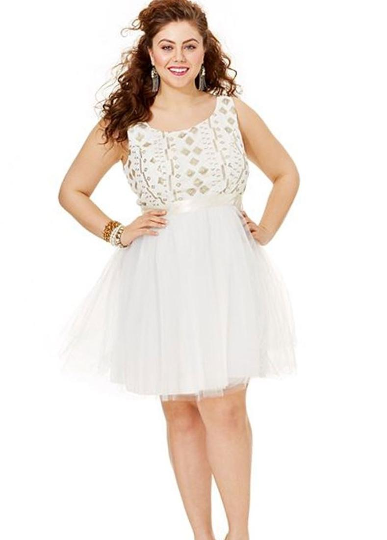 Adrianna Papell Plus Size Embellished-Bodice Gown