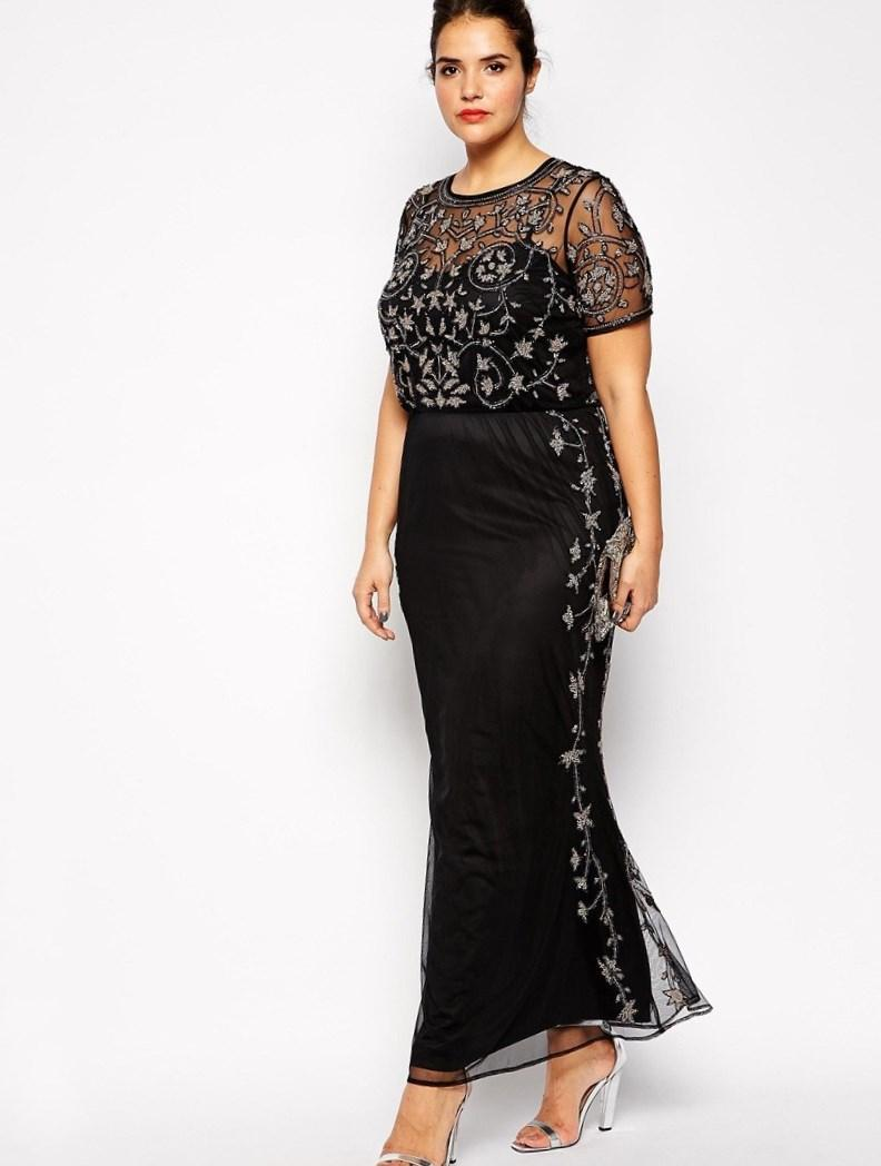 Black  Silver Sequin Plus Size Evening Gown