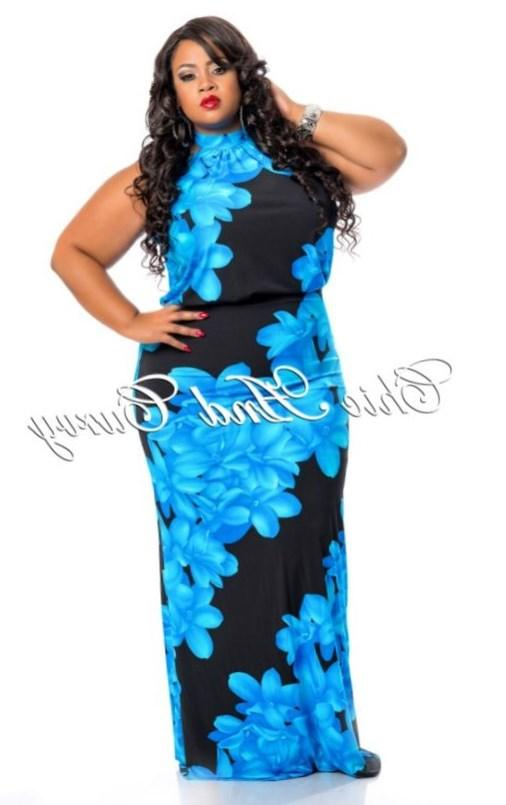 New Arrival New Plus Size Floor Length Halter Maxi Dress in Floral Print available at: