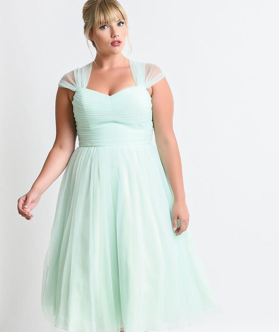 Mint Butterfly Print Dress With Sheer Sweetheart Yoke