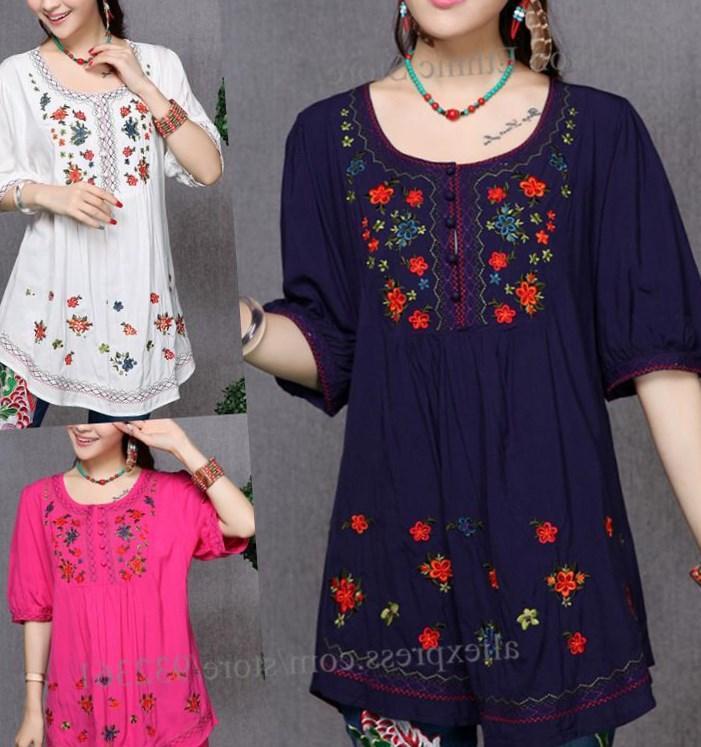 Lijera Libre Plus Size Мексиканская Блуза-Серая Отделка Из Слоновой Кости.