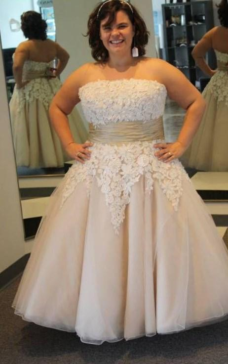 Fancy Custom Made Plus Size Tea Length Wedding Dresses A Line Sheer Neck Lace Short Sleeve Organza Bridal Gowns For Fat Women 2017