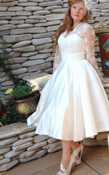 Vintage Style Long Sleeve Tea Length Lace Plus Size Wedding Dresses Bridal Gowns Custom Made Size