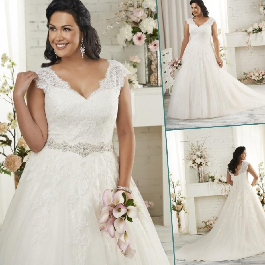 Plus size lace wedding dress with sleeves for Plus size wedding dresses with color and sleeves