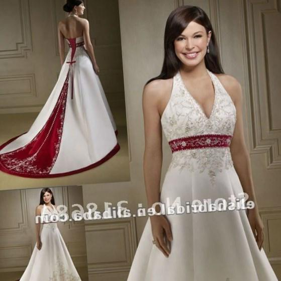 Appliqued Red And White Wedding Dress Sweetheart A Line Women Wedding Gown  Available Plus Size