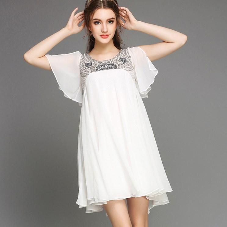 White Empire Waist Plus Size Dresses 38