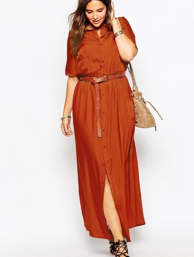 Red maxi dress for plus size women