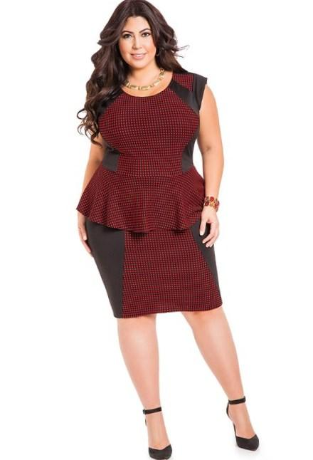 plus size peplum dress with sleeves - pluslook.eu collection