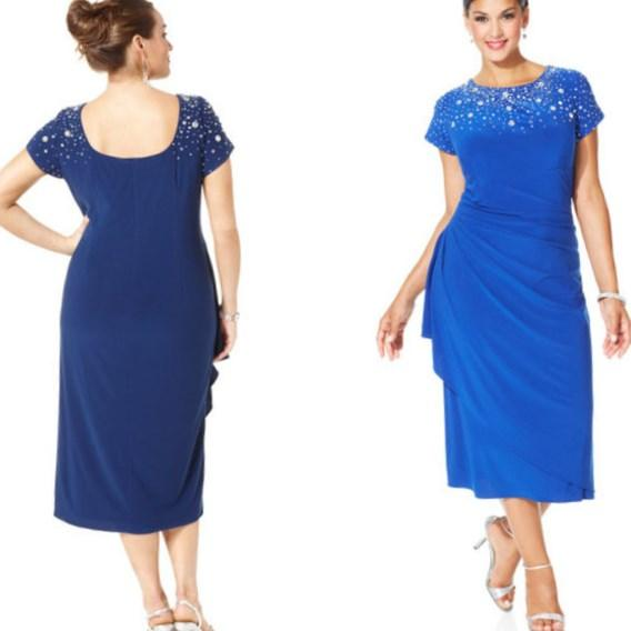Plus size short sleeve cocktail dresses