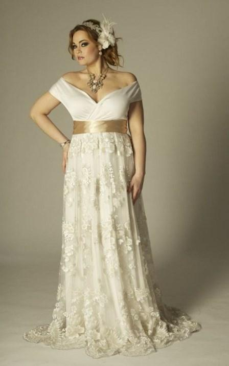 This is an off the Shoulder Plus Size Wedding Dresses with Short sleeves and empire waist line. We have many plus size wedding gowns for a curvy bride to