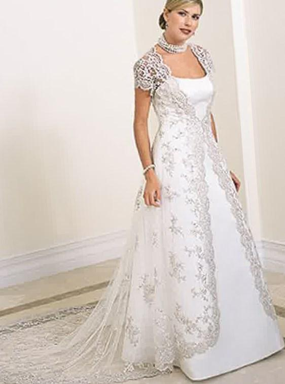 Wedding dress with sleeves plus size collection for Wedding dress jackets plus size