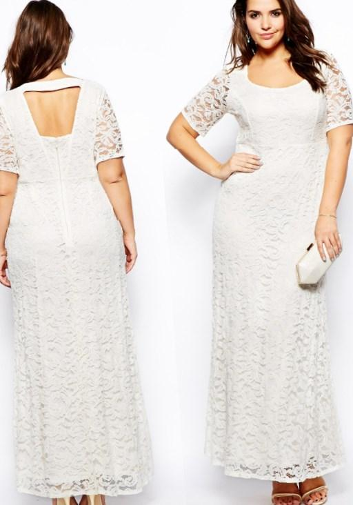 A-Line Elegant White Long Sleeve Bridal Gown Open Back V-Neck Lace Plus