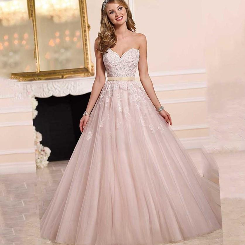 Plus size wedding dresses in pink formal dresses for Plus size pink wedding dresses
