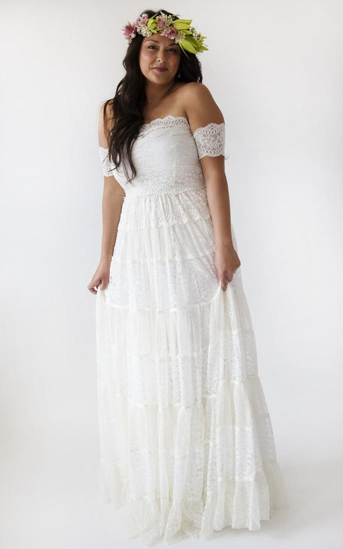 6 Vintage Hippie Wedding Dress Ideas and Plus Sizes for second Weddings - Read this article