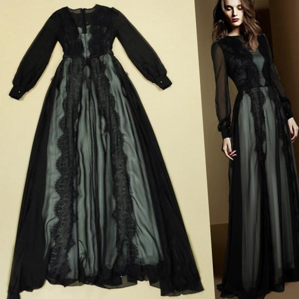 black lace dress plus size women clothing sheer long sleeve floor length a line long shirt