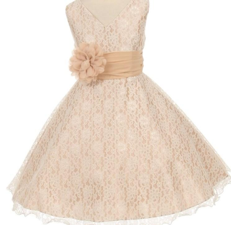 Rachel : Plus Size Girls Special Occasion Dress in Peachy Tan