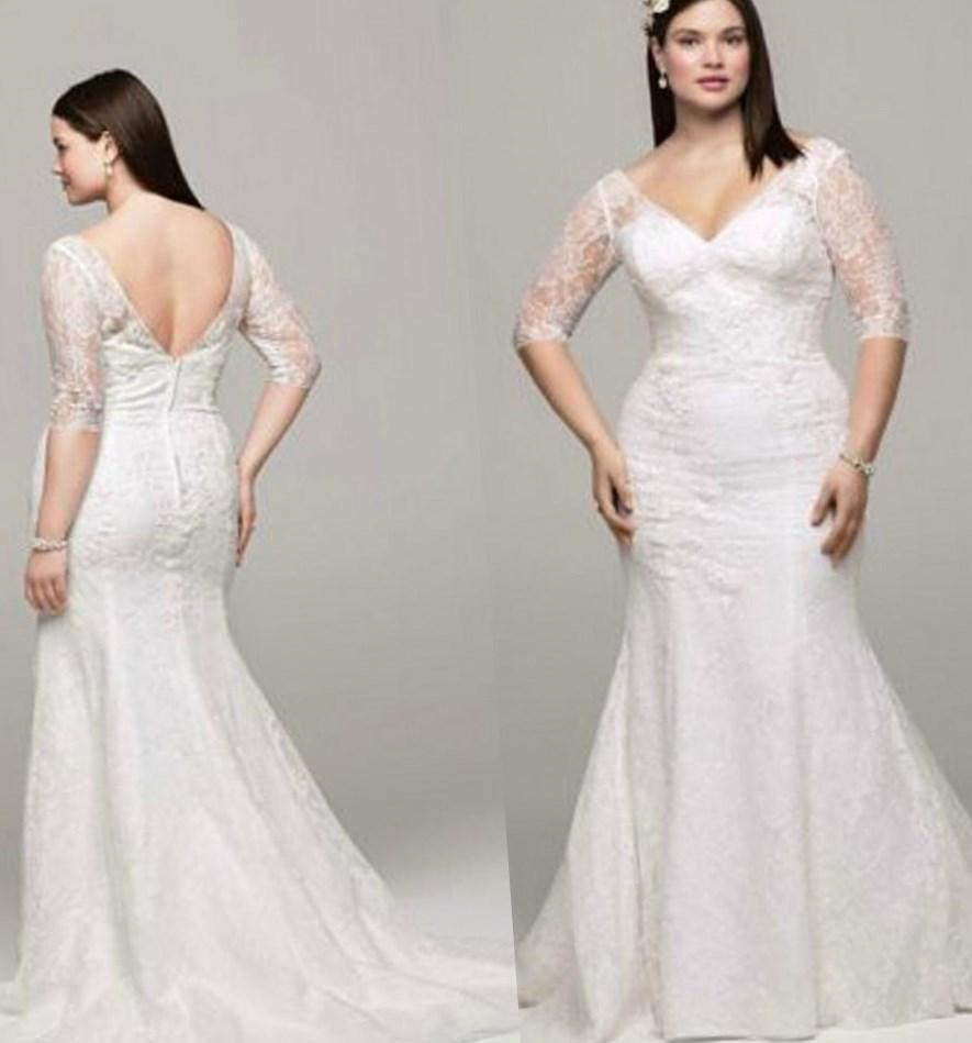 Plus size wedding dresses with lace collection for Plus size trumpet wedding dress with sleeves