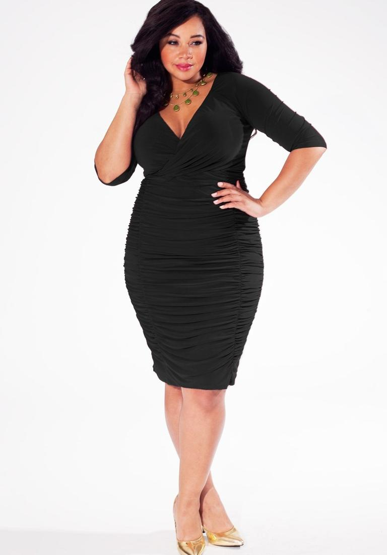 Womens plus size cocktail black dress