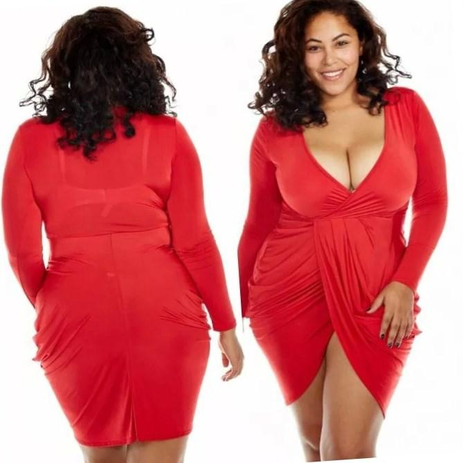 Deep v summer dress red