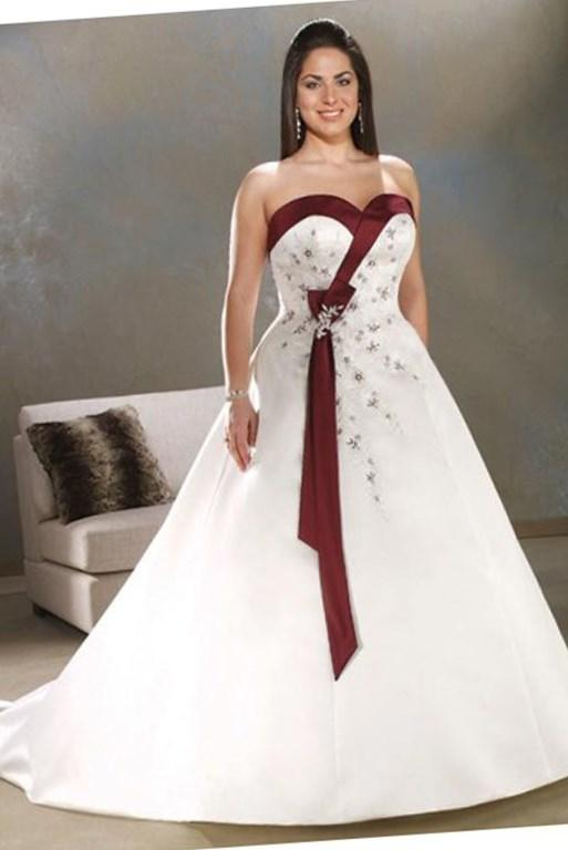 Casual Plus Size Wedding Dresses With Color
