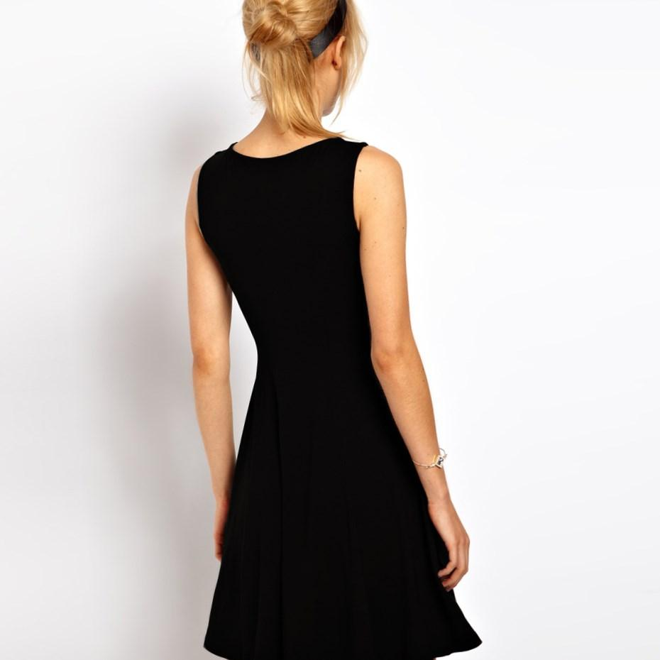Plus Size Solid Black Formal Tank Dress Back View